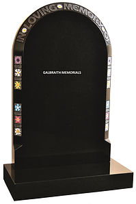 Plumtree. Polished Black granite headstone with wildflower border design