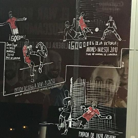 ilustraciones del historico de la selección Española en los cristales