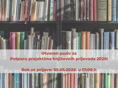 Potpora za projekte književnih prijevoda 2020. potprograma Kultura