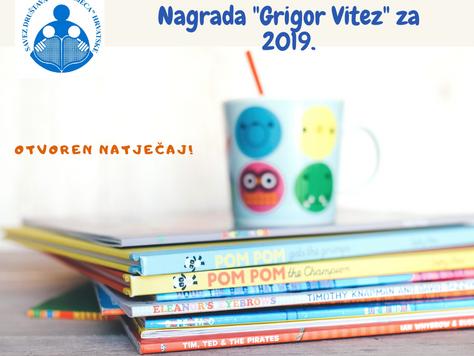 Natječaj za Nagradu Grigor Vitez za 2019.