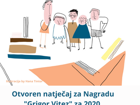 Otvoren javni natječaj za Nagradu Grigor Vitez za 2020. godinu