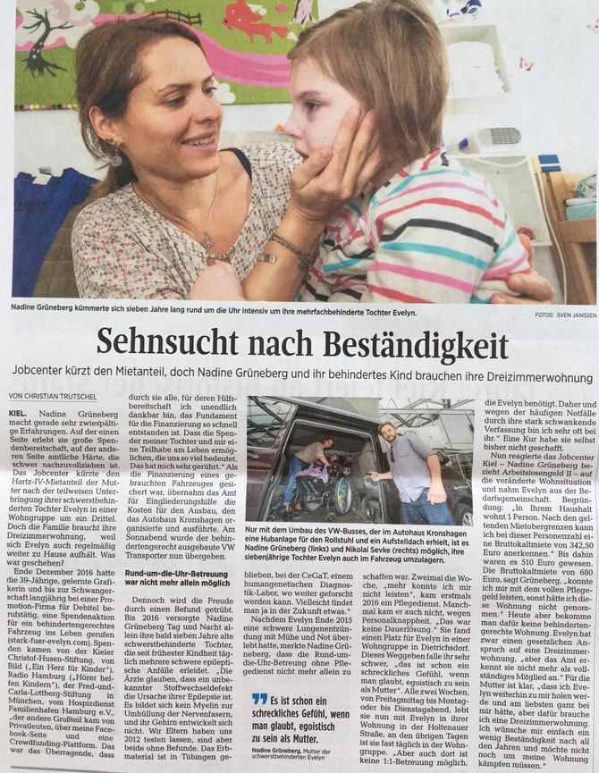 Evelyn in den Kieler Nachrichten