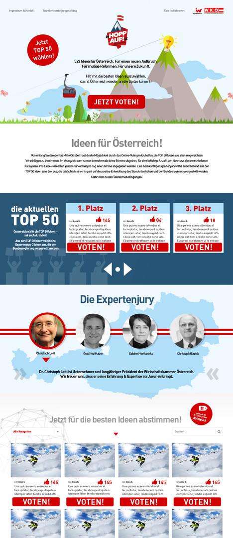 """Kampagnenwebsite """"HoppAuf!"""" für die WKO, 2016"""