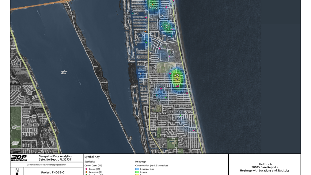 2010 Satellite Beach Cancer Cases Heat Map
