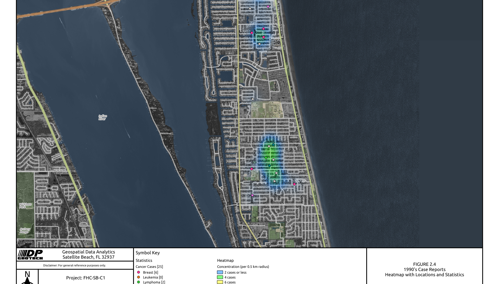 1990 Satellite Beach Cancer Cases Heat Map