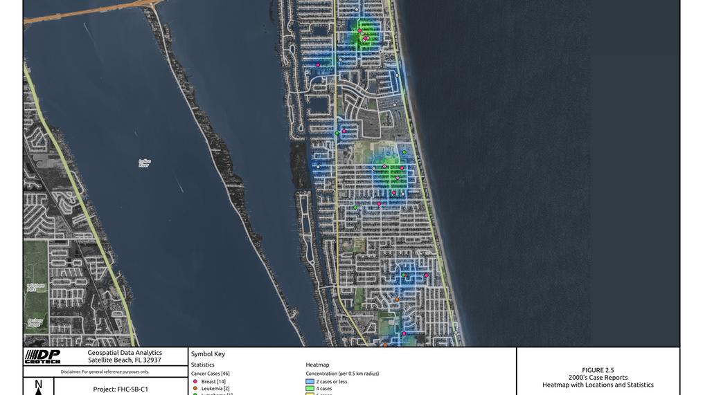 2000 Satellite Beach Cancer Cases Heat Map