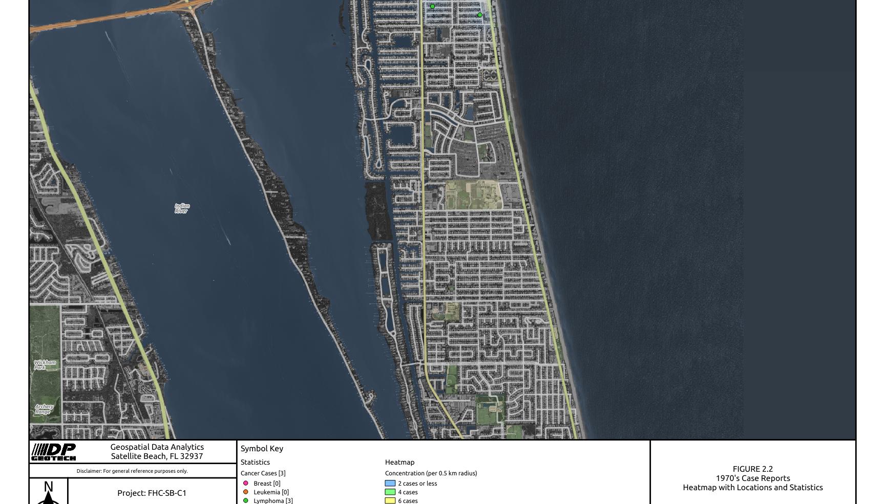 1970 Satellite Beach Cancer Cases Heat Map