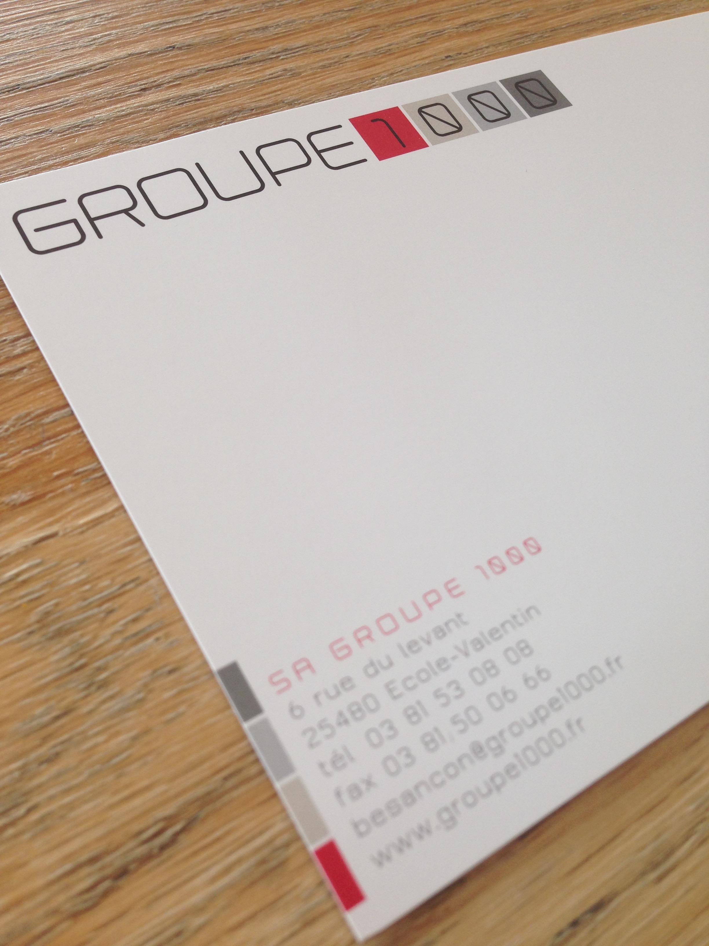 Groupe 1000 logo et papeterie
