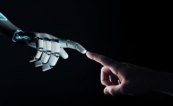 Robot hand making contact with human han
