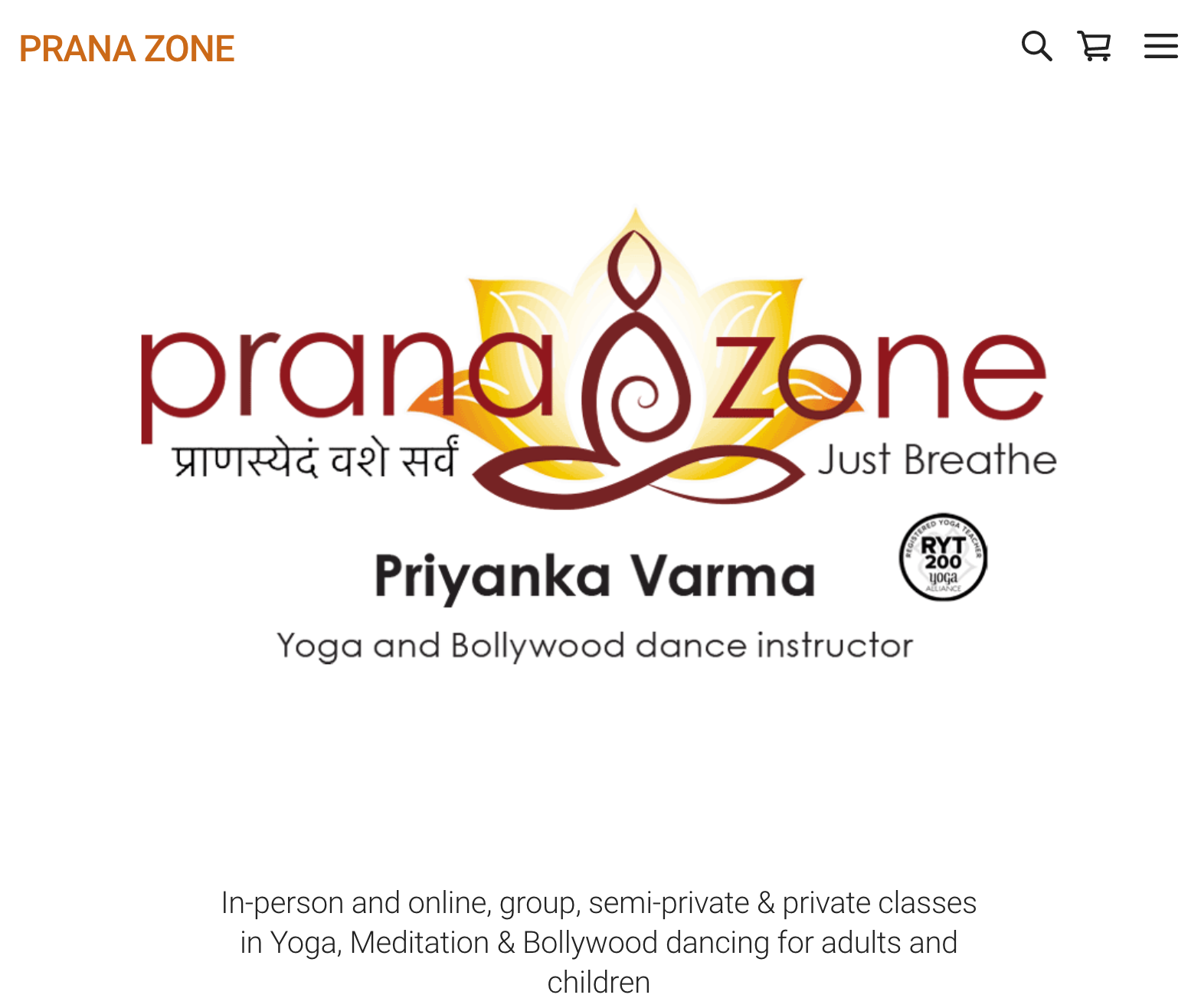 Prana Zone Website