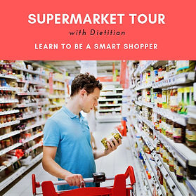 Supermarket tour | grocery tour | how to read food labels | learn to be a smart shopper | shopping with dietitian | making heathier food choices | healthy recipes for weight loss | grocery shopping list | online program | virtual supermarket tour | nutrition claims | gluten free products | dairy free alternatives
