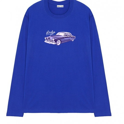 Men's Unisex nostalgic car long-sleeved T-shirt oversize pullover sweater