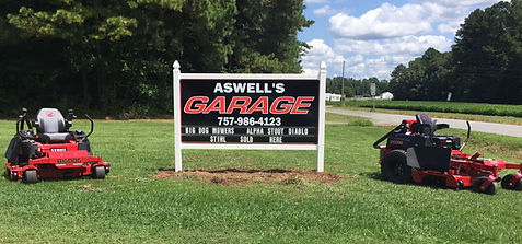 Aswell's Garage sign Big Dog Mowers Stout Diablo MP