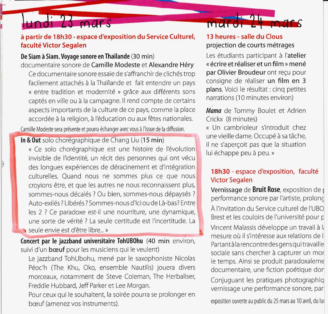 In & Out UBO ROI   LIV CHANG - peinture et danse