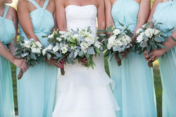 Minty Bridal Bouquet and Bride's Maid Bouquets