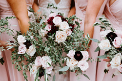 Burgundy & Blush Party Bouquets