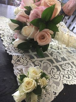 pearls and lace bouquet