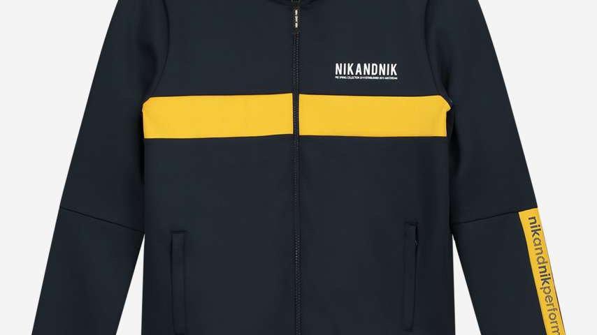 NIK&NIK Donkerblauwe jas met gele bies KODY TRACK JACKET