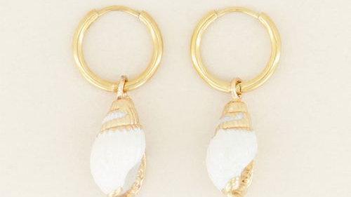 My jewellery Oorringen witte schelp