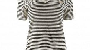Top NUKUS Emi Shirt Stripe Lurex Off White Black Gold