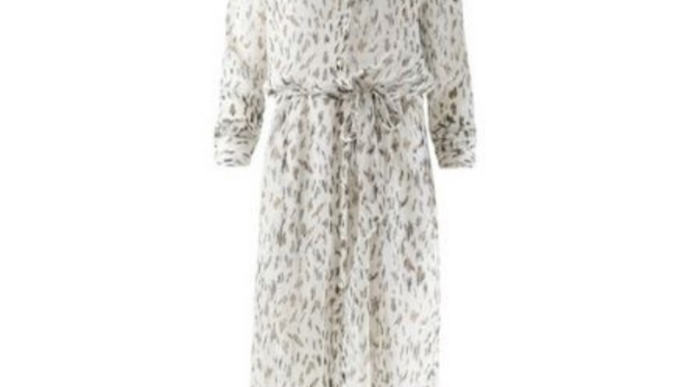Nukus jurk Claudy Chiffon Print White/Sand