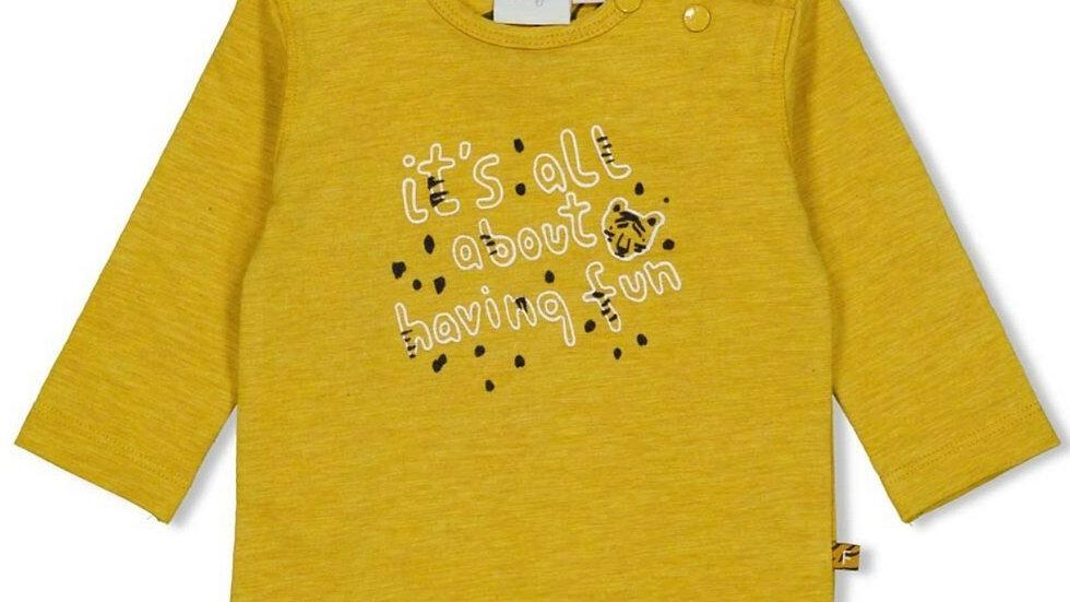 Feetje Shirt Lange Mouw Fun Go Wild Okergeel Melange