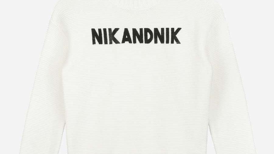 NIK&NIK Witte trui met logo AUBREE PULLOVER