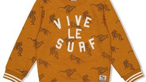 Jubel Sweater AOP - Happy Camper  Kleur: Okergeel
