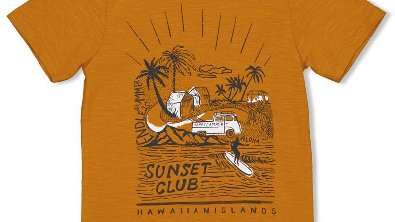 T-shirt - Happy Camper Artikelcode : 71700315 Kleur: Okergeel