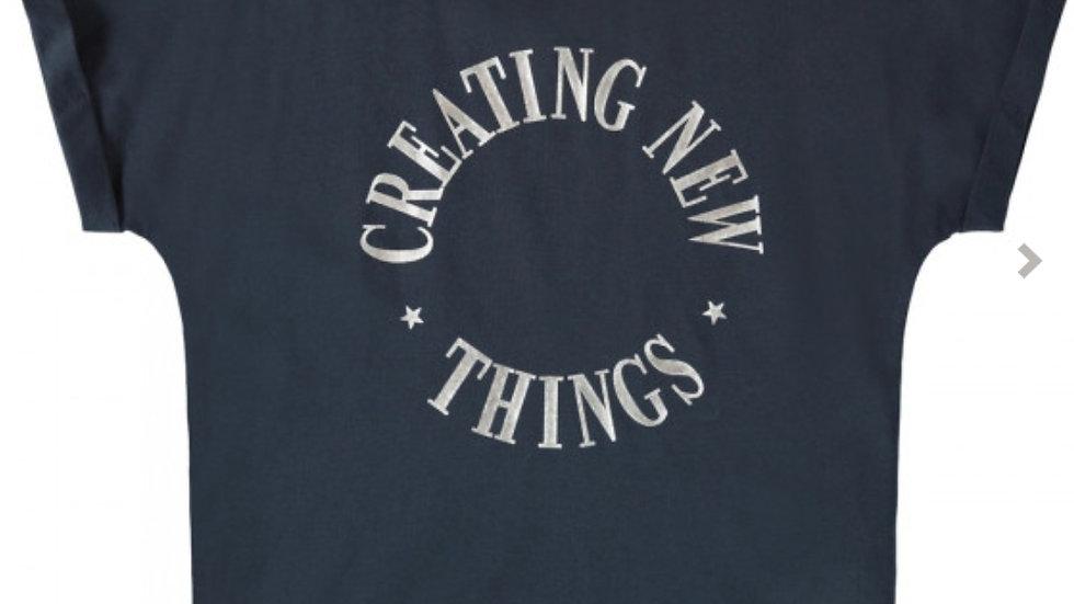 T-shirt Bisan van Name IT in Dark Sapphire (Organic cotton)