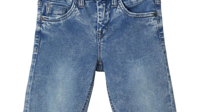 SLIM FIT LONG DENIM SHORTS