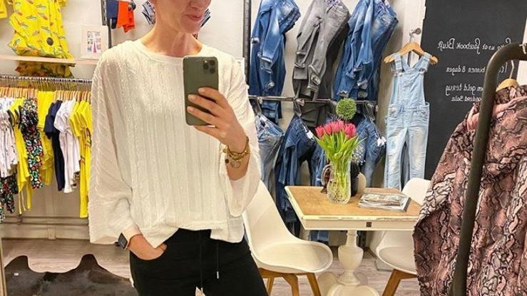 Oversized broderie top