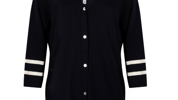 Zoso – Kazan knitted cardigan with artwork – Navy/white