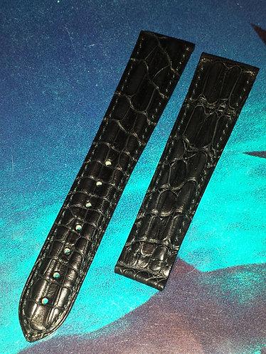 Omega VINTAGE Seamaster 20mm 97246079 BLACK Alligator Deployment Strap