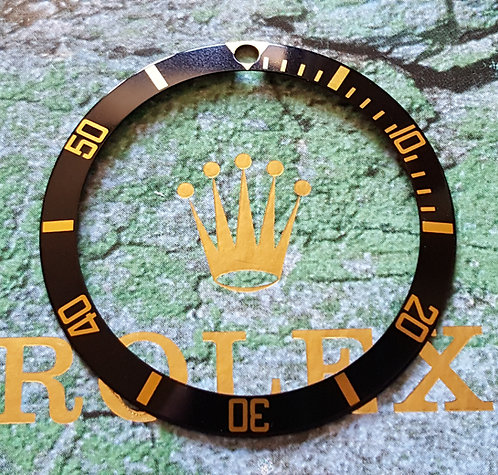 GENUINE ROLEX 1980-2000's 16613 16618 BLACK/GOLD Submariner Bezel Insert