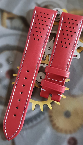 Omega Seamaster Olympic 20mm CUZ010020 RED Leather Pin Buckle Strap