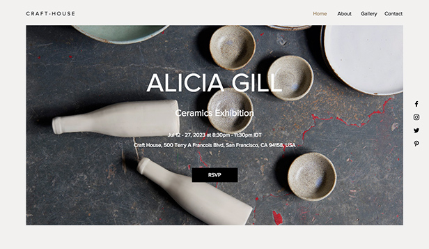 Visual Arts website templates – Gallery Event