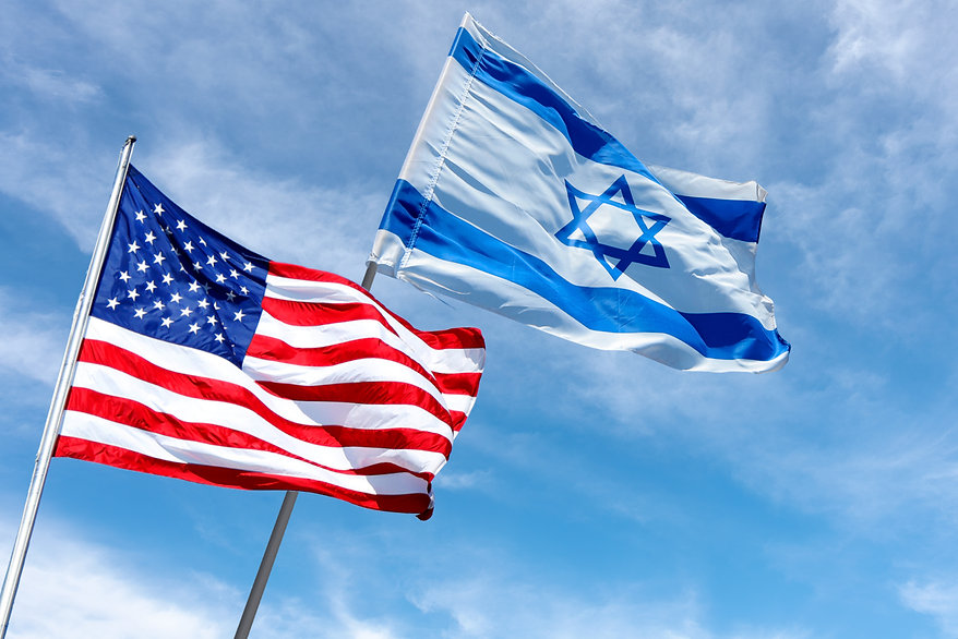 American and Israeli flags in Jerusalem,