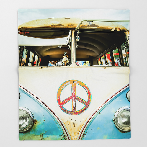 Vintage VW Bus Fleece Blanket | 50x60 inches