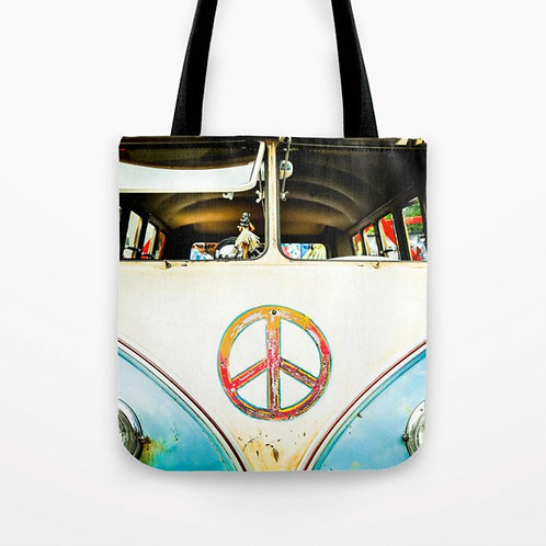 Vintage VW Bus Tote Bag | 16x16 inches