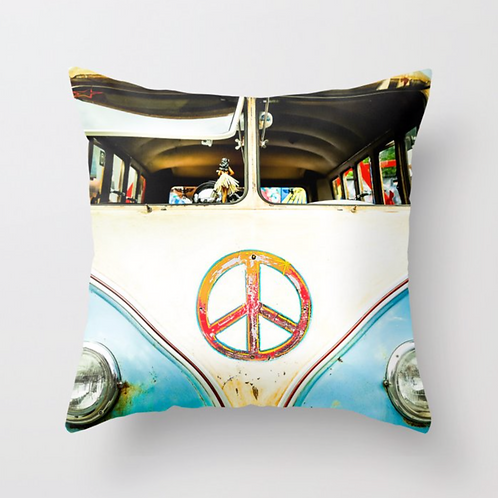 Vintage VW Bus Pillow (cover only)  | 14x14 inches
