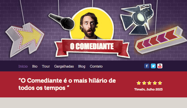 Vídeo website templates – O Comediante
