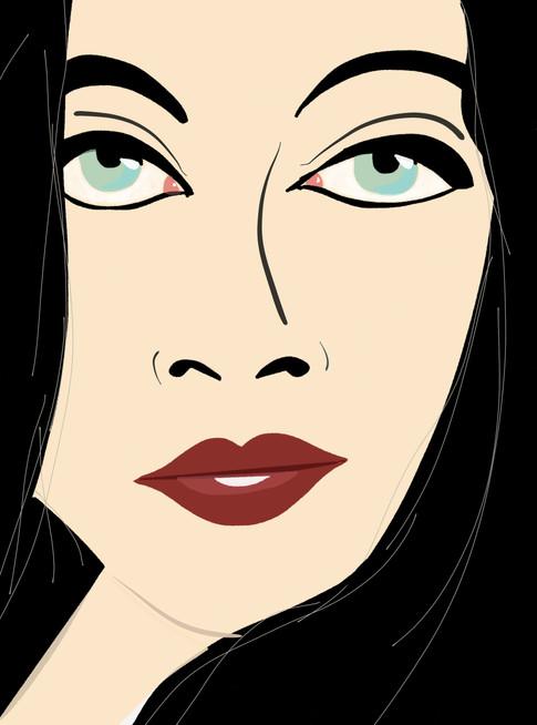 Black hair, red lips