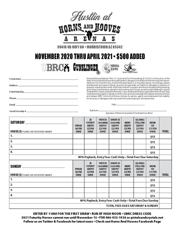 Horn and Hooves Entry Form