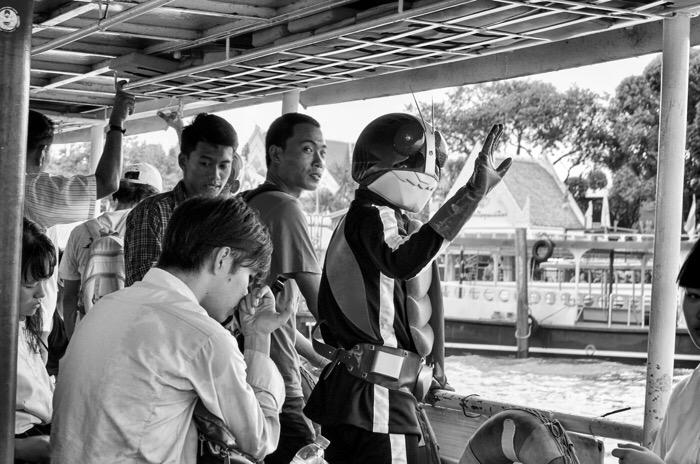 Kamen Rider takes a day-off. Chao Phraya River. Bangkok, Thailand. © J. Balais 2018