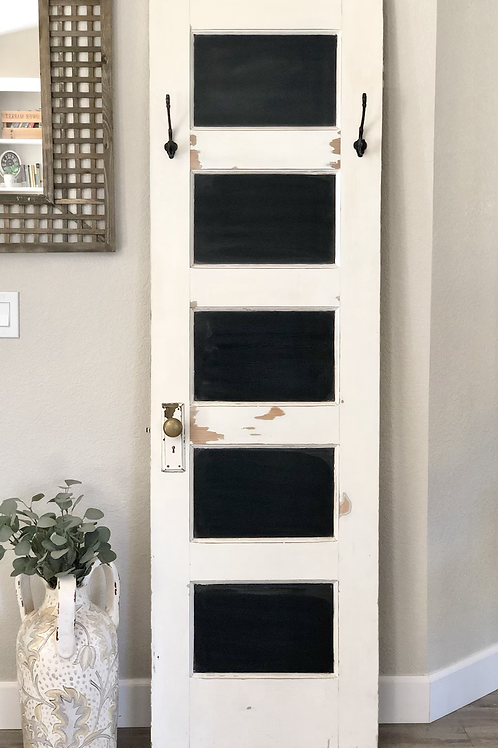 Vintage Door Chalkboard with Hooks