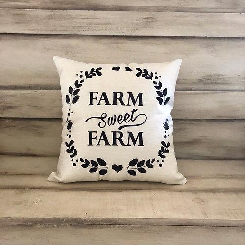 Throw Pillow - Farm Sweet Farm Wreath