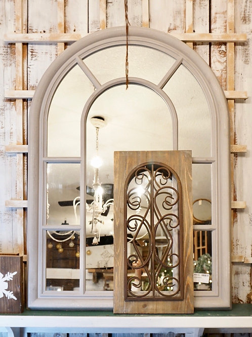 Arched Mirror - Light Grey