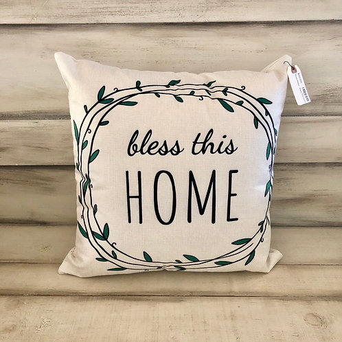 Throw Pillow - Bless This Home Wreatg