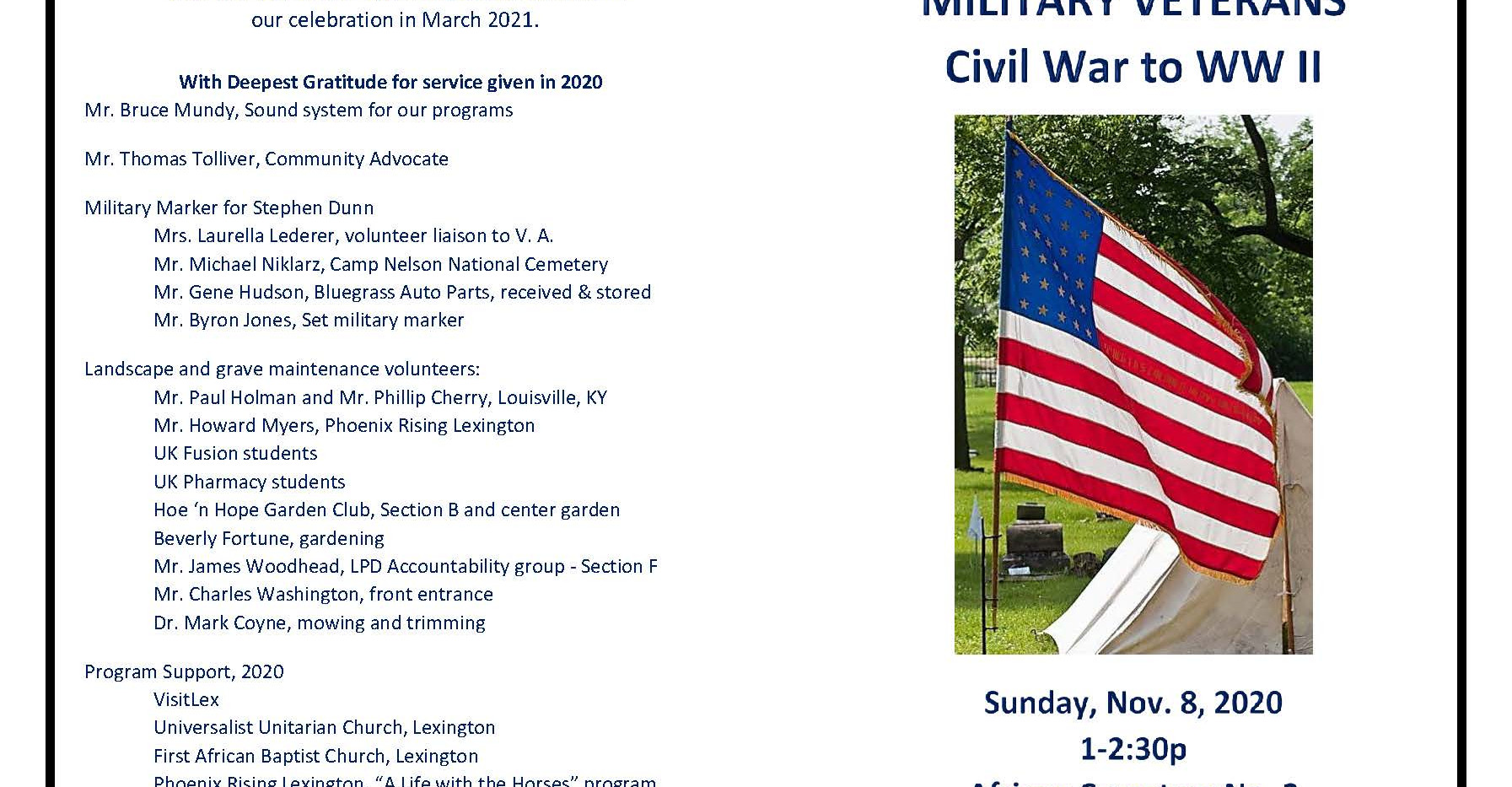 November 8 Military Veterans Civil War to WWII